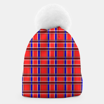 Imagen en miniatura de Red blue plaid tartan check checkered scottish Beanie, Live Heroes