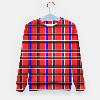 Imagen en miniatura de Red blue plaid tartan check checkered scottish Kid's sweater, Live Heroes