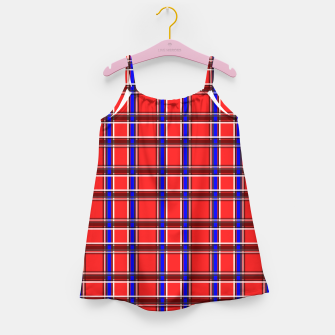 Imagen en miniatura de Red blue plaid tartan check checkered scottish Girl's dress, Live Heroes