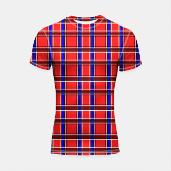 Imagen en miniatura de Red blue plaid tartan check checkered scottish Shortsleeve rashguard, Live Heroes