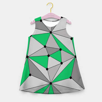 Miniatur Abstract geometric pattern - green and gray. Girl's summer dress, Live Heroes
