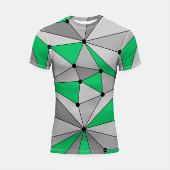Thumbnail image of Abstract geometric pattern - green and gray. Shortsleeve rashguard, Live Heroes