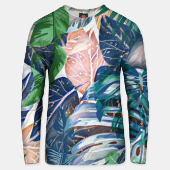 Miniatur Tropical forest blue pink green beige tropical leaves Unisex sweater, Live Heroes