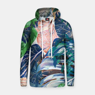 Miniatur Tropical forest blue pink green beige tropical leaves Hoodie, Live Heroes