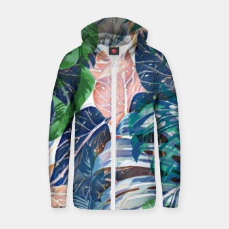 Miniatur Tropical forest blue pink green beige tropical leaves Zip up hoodie, Live Heroes