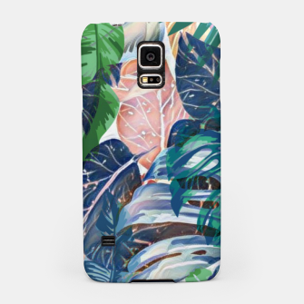 Miniatur Tropical forest blue pink green beige tropical leaves Samsung Case, Live Heroes
