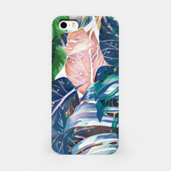 Miniatur Tropical forest blue pink green beige tropical leaves iPhone Case, Live Heroes