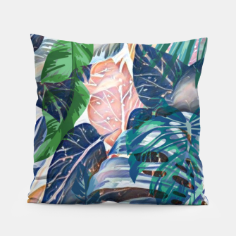 Miniatur Tropical forest blue pink green beige tropical leaves Pillow, Live Heroes