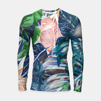 Miniatur Tropical forest blue pink green beige tropical leaves Longsleeve rashguard , Live Heroes