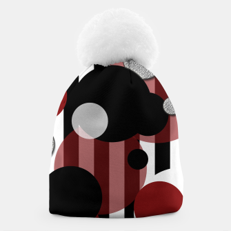 Thumbnail image of Black White Red Stripes Dots Beanie, Live Heroes