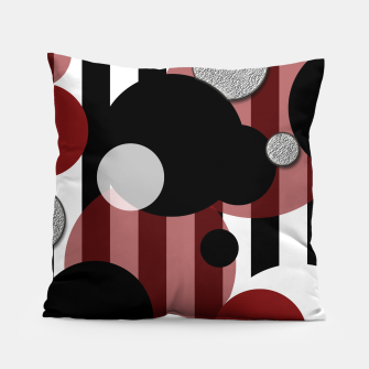 Thumbnail image of Black White Red Stripes Dots Pillow, Live Heroes