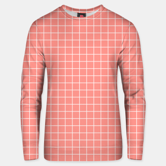Thumbnail image of Coral plaid checkered check pink striped lined Unisex sweater, Live Heroes