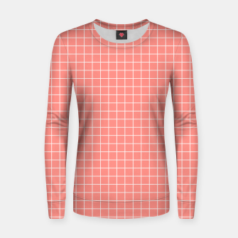 Thumbnail image of Coral plaid checkered check pink striped lined Women sweater, Live Heroes