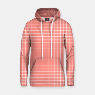 Thumbnail image of Coral plaid checkered check pink striped lined Hoodie, Live Heroes