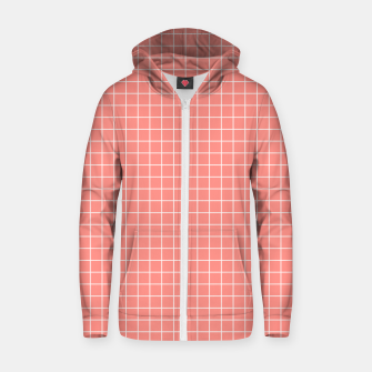 Thumbnail image of Coral plaid checkered check pink striped lined Zip up hoodie, Live Heroes