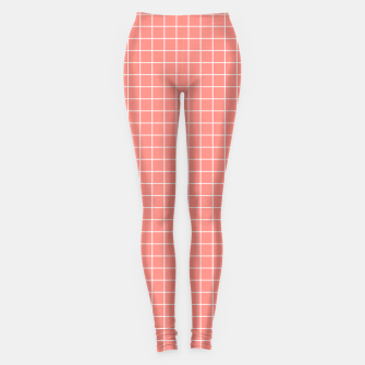 Miniature de image de Coral plaid checkered check pink striped lined Leggings, Live Heroes