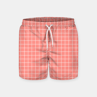 Thumbnail image of Coral plaid checkered check pink striped lined Swim Shorts, Live Heroes