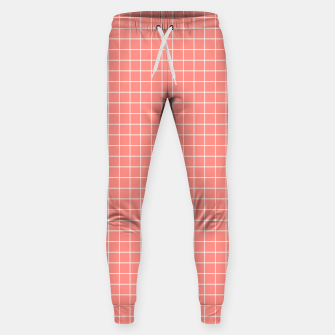 Miniature de image de Coral plaid checkered check pink striped lined Sweatpants, Live Heroes