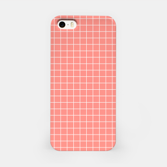 Thumbnail image of Coral plaid checkered check pink striped lined iPhone Case, Live Heroes