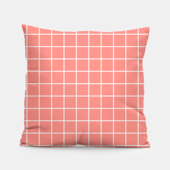 Thumbnail image of Coral plaid checkered check pink striped lined Pillow, Live Heroes
