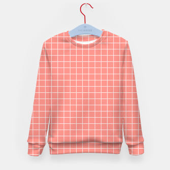 Thumbnail image of Coral plaid checkered check pink striped lined Kid's sweater, Live Heroes