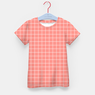 Imagen en miniatura de Coral plaid checkered check pink striped lined Kid's t-shirt, Live Heroes