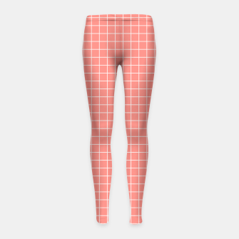 Miniature de image de Coral plaid checkered check pink striped lined Girl's leggings, Live Heroes