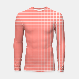 Thumbnail image of Coral plaid checkered check pink striped lined Longsleeve rashguard , Live Heroes