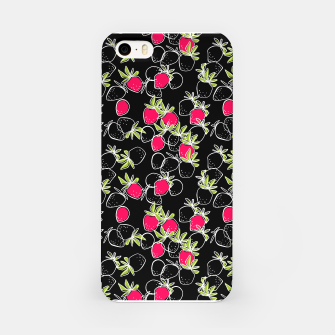 Thumbnail image of Abstract strawberry red berry modern pattern black hand drawn iPhone Case, Live Heroes