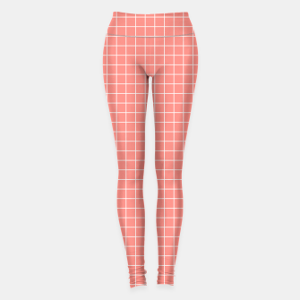 Thumbnail image of Coral plaid checkered check pink striped lined Leggings, Live Heroes