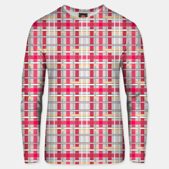 Thumbnail image of Grey-pink plaid check checkered tartan scottish Unisex sweater, Live Heroes