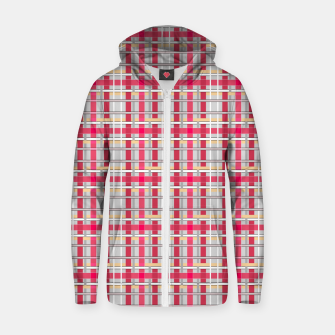 Thumbnail image of Grey-pink plaid check checkered tartan scottish Zip up hoodie, Live Heroes