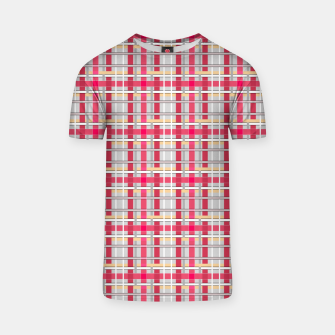 Thumbnail image of Grey-pink plaid check checkered tartan scottish T-shirt, Live Heroes
