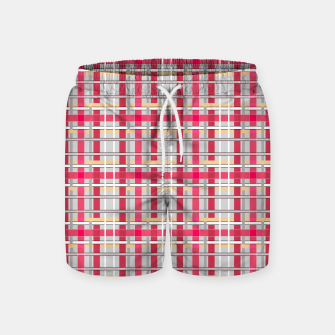 Thumbnail image of Grey-pink plaid check checkered tartan scottish Swim Shorts, Live Heroes