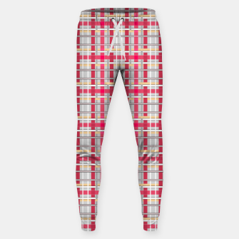 Thumbnail image of Grey-pink plaid check checkered tartan scottish Sweatpants, Live Heroes