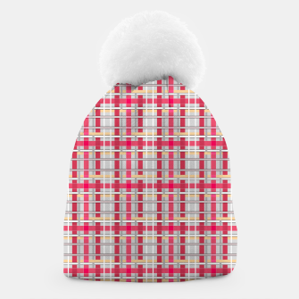 Thumbnail image of Grey-pink plaid check checkered tartan scottish Beanie, Live Heroes