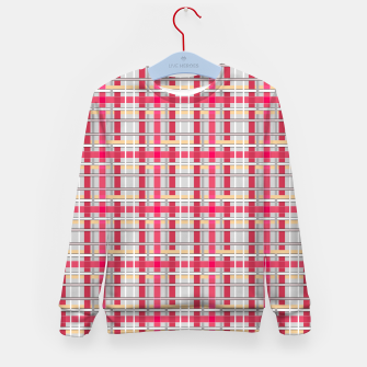 Thumbnail image of Grey-pink plaid check checkered tartan scottish Kid's sweater, Live Heroes