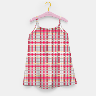 Thumbnail image of Grey-pink plaid check checkered tartan scottish Girl's dress, Live Heroes
