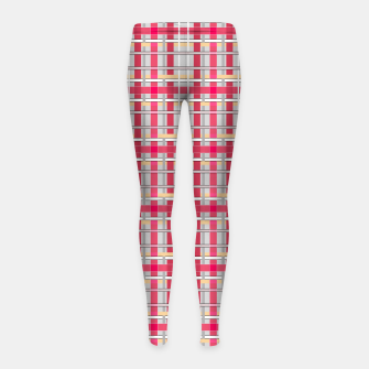 Thumbnail image of Grey-pink plaid check checkered tartan scottish Girl's leggings, Live Heroes