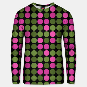 Imagen en miniatura de Pink and olive polka dots on black bubbles circles retro vintage Unisex sweater, Live Heroes