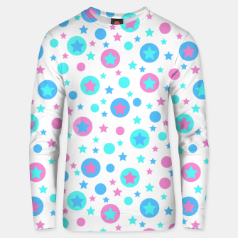 Thumbnail image of Geometric circles and stars kids fun bright cartoon seamless pattern Unisex sweater, Live Heroes