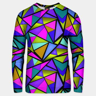 Imagen en miniatura de Abstract geometric pattern colorful triangles in pink blue line, black, blue, pink, green, colorful, abstract, shapes, geometric Unisex sweater, Live Heroes