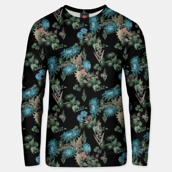 blue chrysanthemums black watercolor blue, green, black, flowers, leaves, chrysanthemums, colorful, watercolor flowers, watercolor Unisex sweater thumbnail image