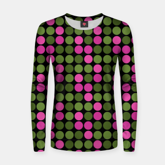 Imagen en miniatura de Pink and olive polka dots on black bubbles circles retro vintage Women sweater, Live Heroes