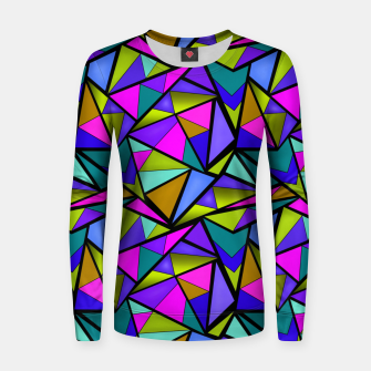 Miniature de image de Abstract geometric pattern colorful triangles in pink blue line, black, blue, pink, green, colorful, abstract, shapes, geometric Women sweater, Live Heroes