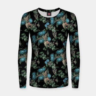 blue chrysanthemums black watercolor blue, green, black, flowers, leaves, chrysanthemums, colorful, watercolor flowers, watercolor Women sweater thumbnail image