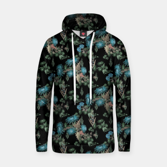 blue chrysanthemums black watercolor blue, green, black, flowers, leaves, chrysanthemums, colorful, watercolor flowers, watercolor Hoodie thumbnail image