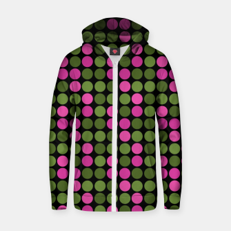 Imagen en miniatura de Pink and olive polka dots on black bubbles circles retro vintage Zip up hoodie, Live Heroes