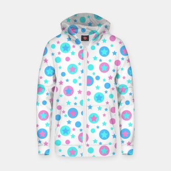 Thumbnail image of Geometric circles and stars kids fun bright cartoon seamless pattern Zip up hoodie, Live Heroes