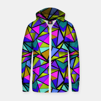 Miniature de image de Abstract geometric pattern colorful triangles in pink blue line, black, blue, pink, green, colorful, abstract, shapes, geometric Zip up hoodie, Live Heroes